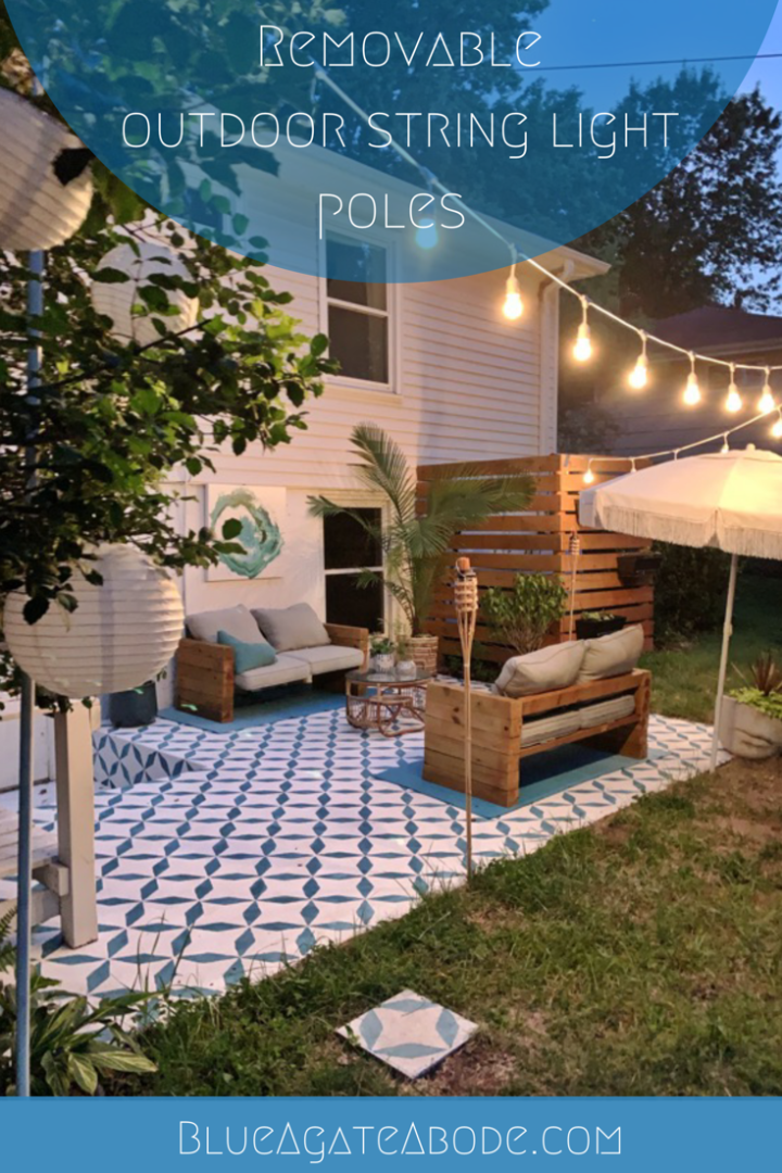 Removable Outdoor String Light Poles, Patio String Lights Pole Diy
