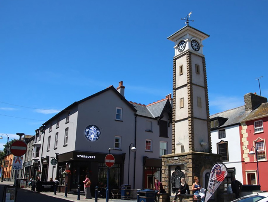 Aberystwyth in town and Starbucks