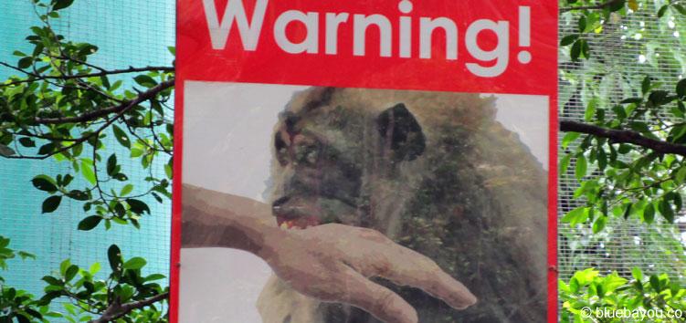 Ein Warnschild vor Affen in Kuala Lumpur.