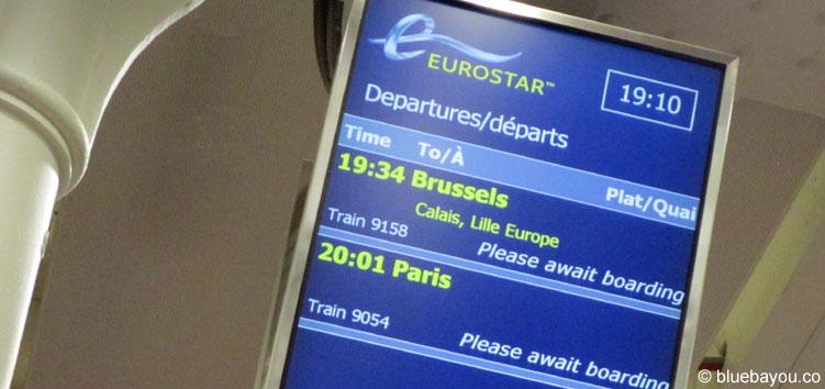 Boarding-Tafel für den Eurostar von London nach Calais-Frethun.