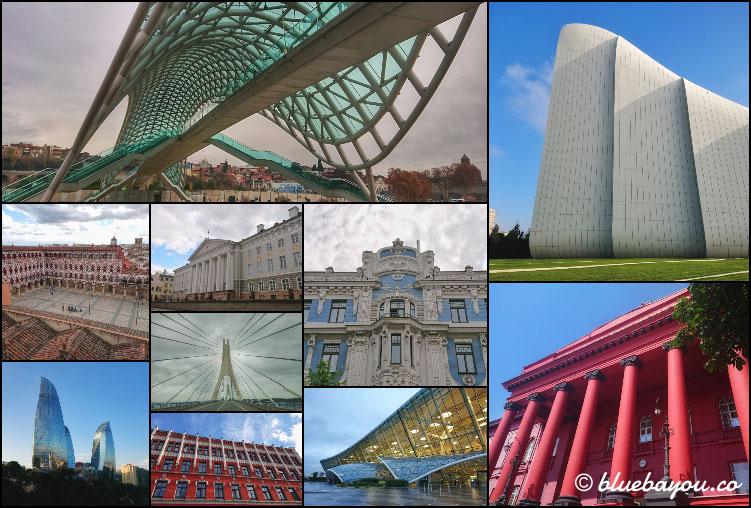 Fotoparade Collage Wasser: Fantastische Architektur in Tiflis, Baku, Badajoz, Tartu, Riga und Kiew.