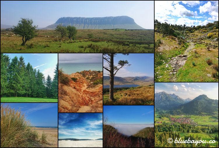 Fotoparade Collage Landschaft: Traumhafte Aussichten in Irland, Portugal, Estland, Litauen, Deutschland und den Niederlanden.