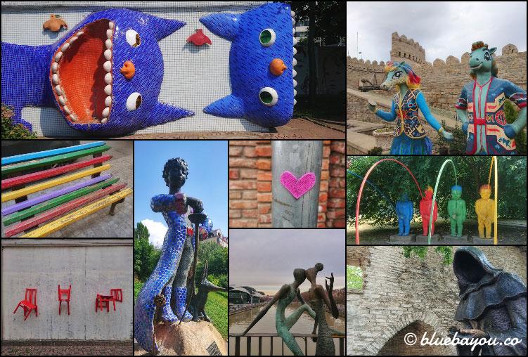 Fotoparade Collage Street Art & Statuen: Tolle Impressionen aus Kiew, Tiflis, Tallinn, Baku und Riga.