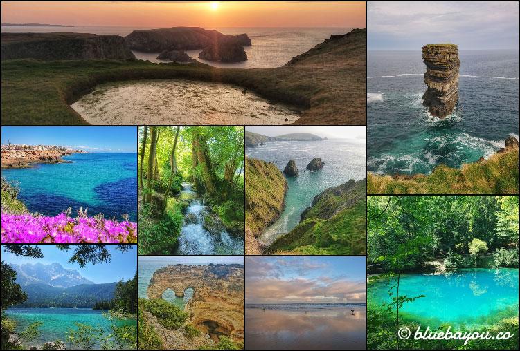 Fotoparade Collage Wasser: Diese tolle Blicke aufs Wasser haben sich mir in Irland, Spanien, Deutschland und Portugal geboten.