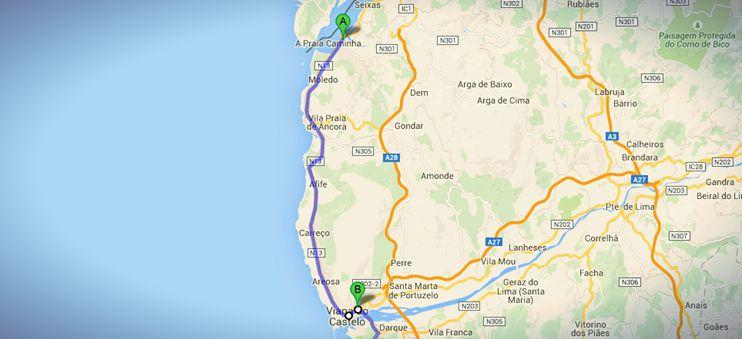 Die Strecke von Caminha nach Viano do Castelo auf meinem nicht-traditionellen Jakobsweges in Portugal.