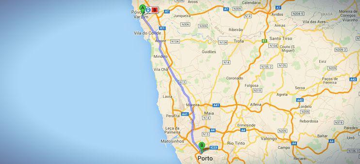 Die Strecke mit der Metro von Póvoa de Varzim nach Porto auf meinem nicht-traditionellen Jakobswegs in Portugal.