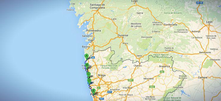 Die Gesamtstrecke meines nicht-traditionellen Jakobswegs in Portugal - auf dem Weg nach Porto.