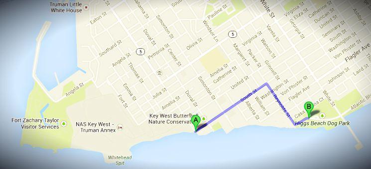 Stadtplan von Key West: Route zum Strand mit gratis Parkplätzen und Toiletten