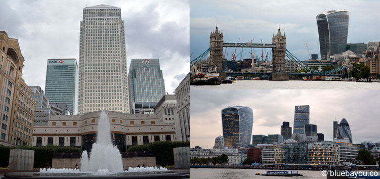 Skylineblicke in London: Canary Wharf und City of London.