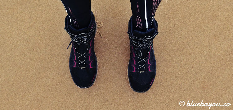 Auch am Strand bin ich dankbar für meine exzellenten Schuhe.