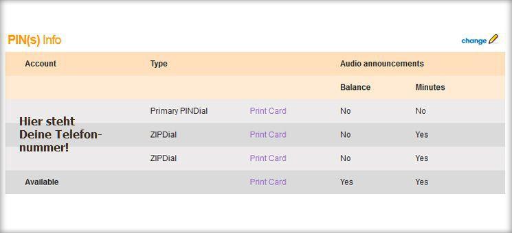 Übersicht über Dein PIN-Management bei onesuite.com. In diesem Account sind mehrere Nummern hinterlegt.