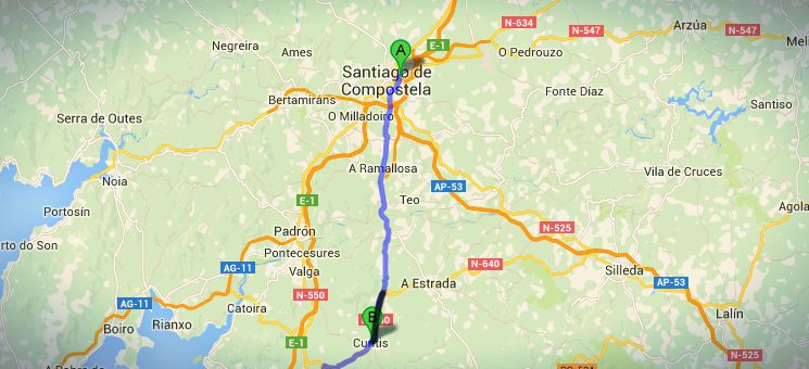 Die Strecke von Santiago nach Cuntis auf meinem nicht-traditionellen Jakobsweges in Spanien.