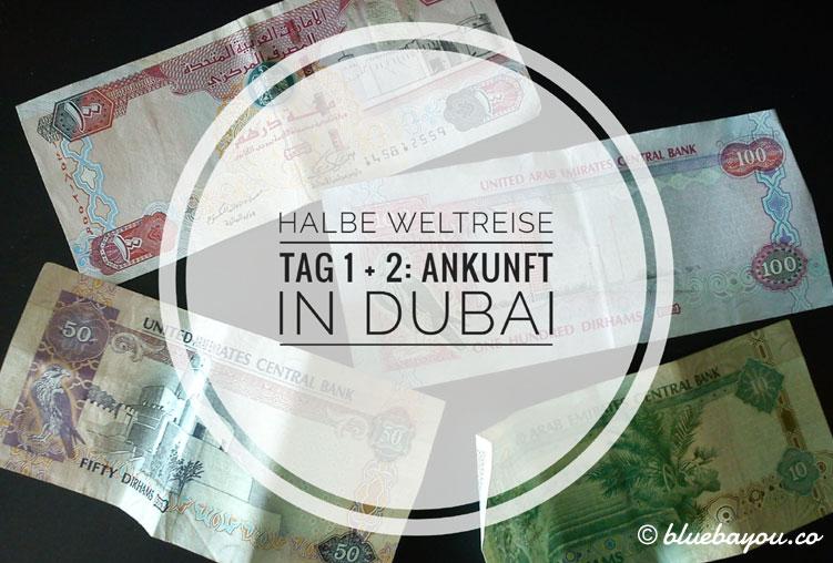 Geldscheine der Vereinigten Arabischen Emirate: Tag 1 und 2 der halben Weltreise mit Ankunft in Dubai.