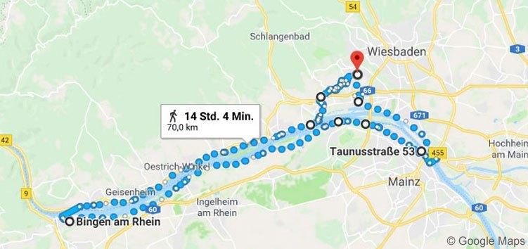 Von Wiesbaden ging im für meinen Megamarsch über Mainz nach Bingen und nach der Fährfahrt von Rüdesheim über Eltville zurück.