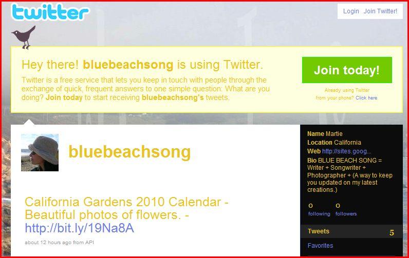 Blue Beach Song Twitter