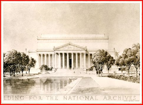 """""""The ties that bind the lives of our people in one indissoluble union are perpetuated in the archives of our government and to their custody this building is dedicated."""" Inscribed on the south side of the National Archives Building in Washington, DC."""