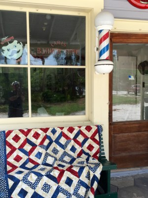 Sparklers on Liberty Square Quilt at barber shop