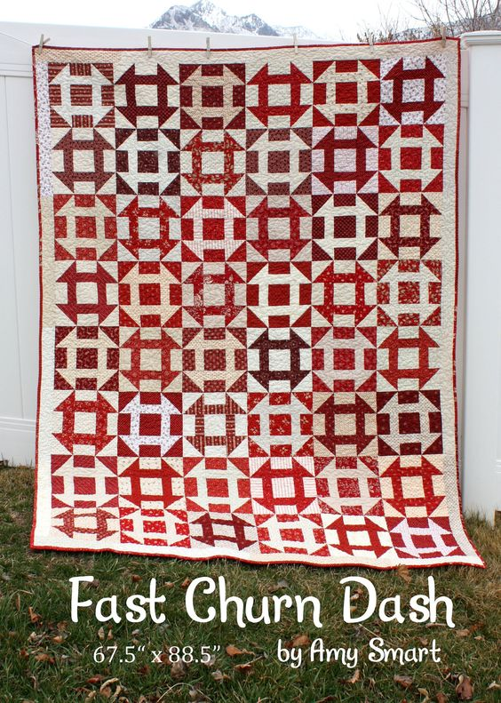 Red White Churn Dash Quilt
