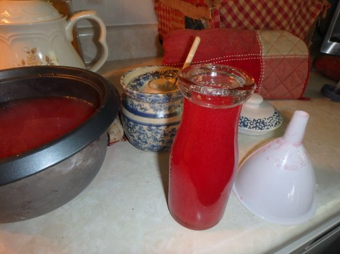 Some of the crabapple juice that would soon become the jelly which is this week being given out as Christmas gifts!