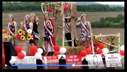 The Tiara Club, as I sacriligiously call them on the float driven by 145th President Chris Bates (his daughter Sarah, Miss Photogenic, is under the arch in my tomboy-approved black pants. Thanks to Chantal and Kendra Nissen for even snagging the province-wide queen, Miss New Brunswick, for their float!
