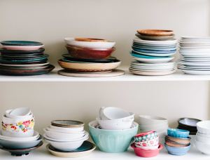 cabinet with bowls and plates