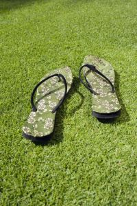 grass and slippers