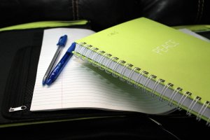 a binder and a notebook