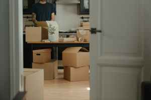 cardboard boxes in a kitchen