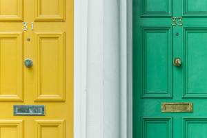 green and yellow doors