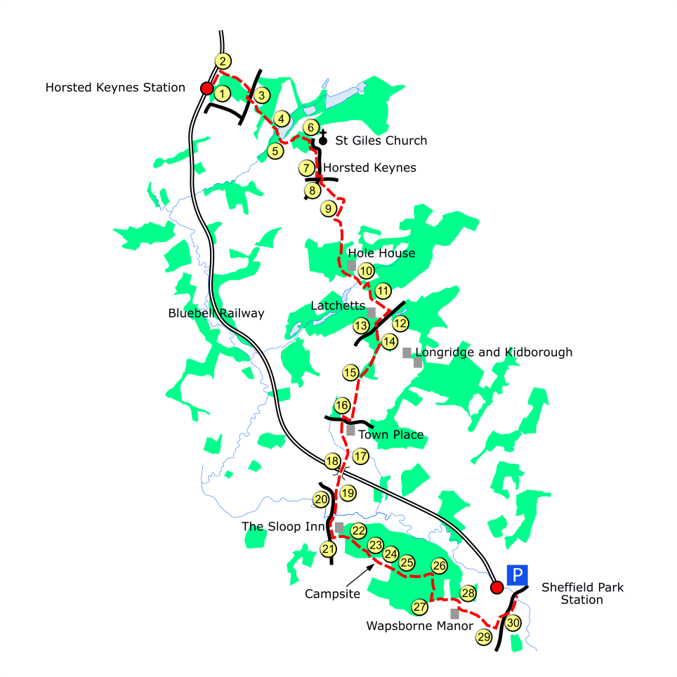 Horsted Keynes South route map