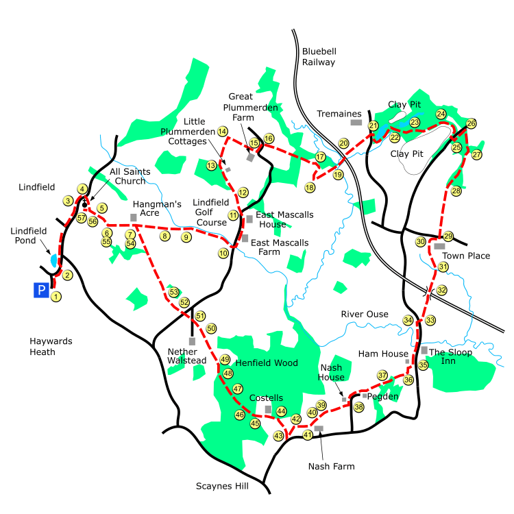 Lindfield route map