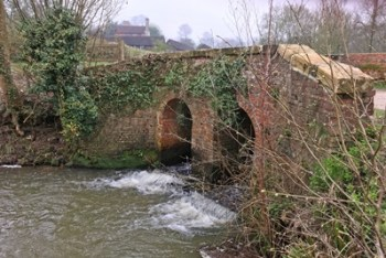 Bridge over a tributary to the River Medway at Kingscote Vineyard Estates