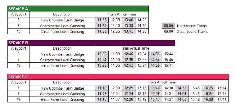 Weirwood Timetable
