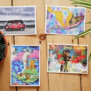 Travel deeper postcard set of four art postcards