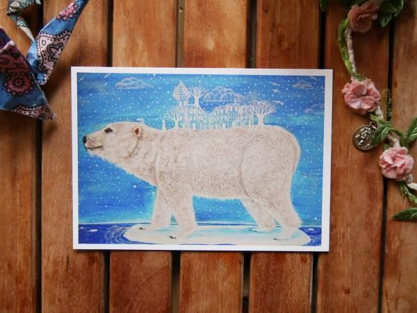 transformation polar bear postcard by zoé keleti