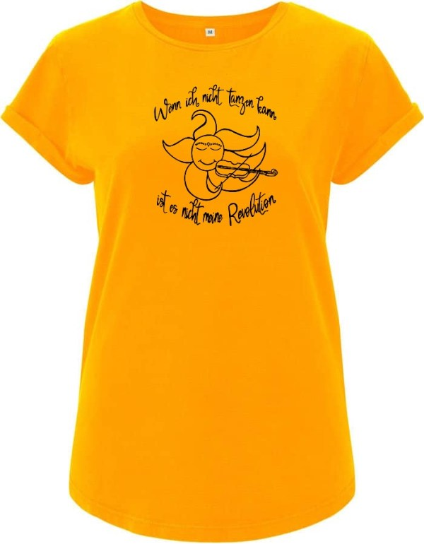 Sun plays violin yellow women t-shirt