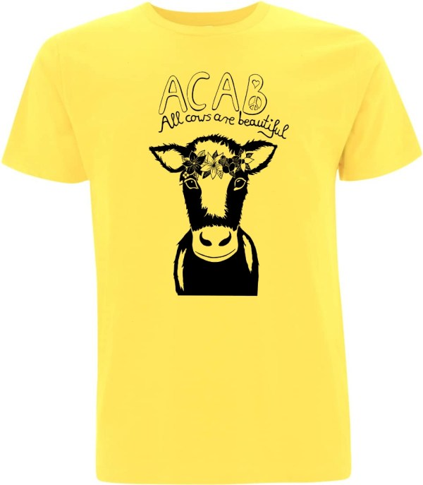 Yellow acab all cows are beautiful t-shirt