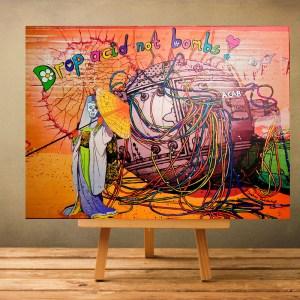 drop acid not bombs painting by Zoé keleti