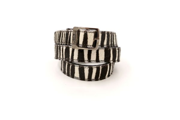 Ladies Narrow Zebra Belt