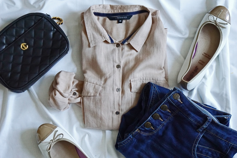 beige shirt outfit
