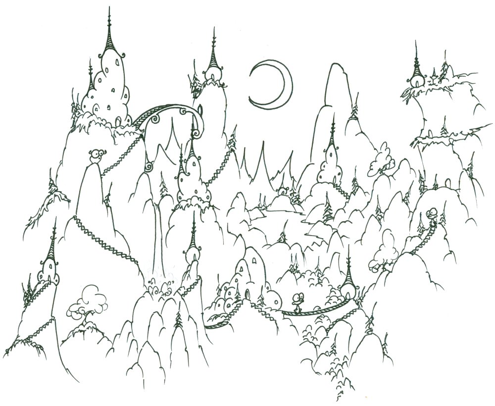 Coloring Page A Monkey Village In The Mountains Bluebison