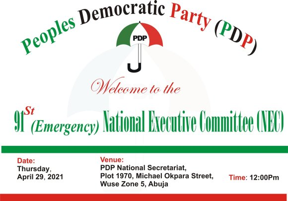 PDP To Hold 91st Emergency National Executive Committee Meeting
