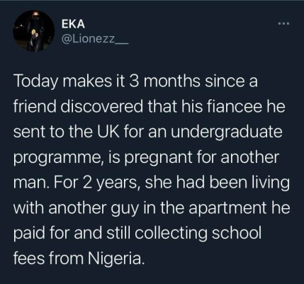 A Friend Slipped Into Depression After Finding Out His Fiancée He Sponsored To The UK For Undergraduate Programme Was Pregnant For Another Man - Twitter User