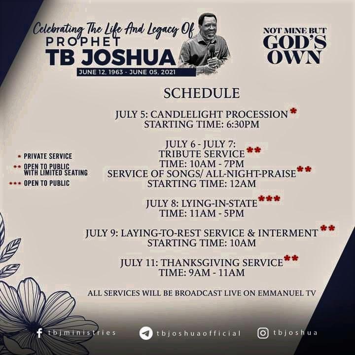 SCOAN : Official Burial Date Of Prophet Temitope Balogun Joshua Released.