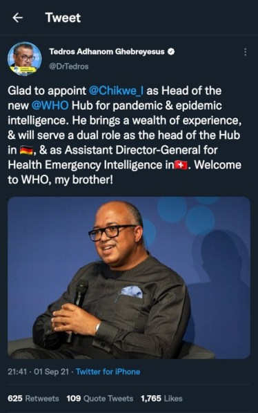 Dr. Chikwe Ihekweazu Appointed WHO Head of  Pandemic and Epidemic Intelligence.