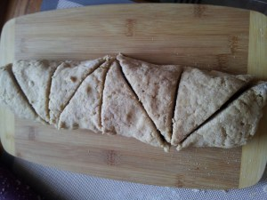 roll up, press gently into a 12x4 inch rectangle and slice triangles with a floured, serrated knife