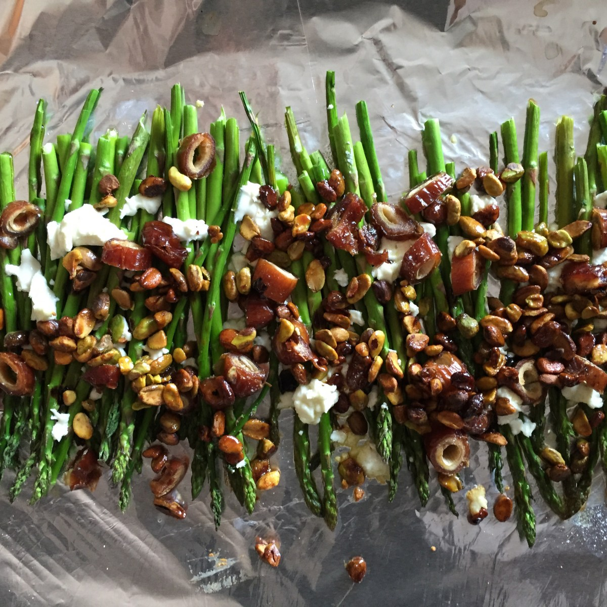 Honey Roasted Pistachios over Asparagus with Dates and Goat Cheese {recipe}