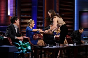 "SHARK TANK - ""Episode 726"" - A woman from Boston, Massachusetts, hopes the Sharks will make a deal and sink their teeth into her chocolate treats that are perfect for women who want to satisfy cravings; a season four entrepreneur from Aeworth, Georgia, returns for a second chance to pitch the Shark's his new business, a line of men's hair products; a man from Telluride, Colorado, who is desperate for capital, plans to warm the Sharks' hearts with an app that allows users to electronically send handwritten cards; and a man from Boston, Massachusetts, believes he has created a unique way to break bad habits with self-zapping wristbands. Also, recaps and updates featuring the various entrepreneurs that appeared during season seven, on ""Shark Tank,"" FRIDAY, MAY 20 (9:00-10:01 p.m. EDT), on the ABC Television Network. (ABC/Michael Desmond) MARK CUBAN, BARBARA CORCORAN, TANIA GREEN (PMS BITES)"