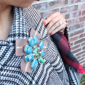 Versatile, Chic, & Cozy – my favorite blanket scarf @ilymix + the perfect brooch to go with it!