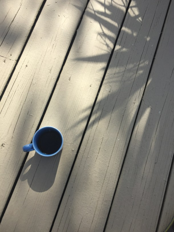 relaxing coffee on the deck